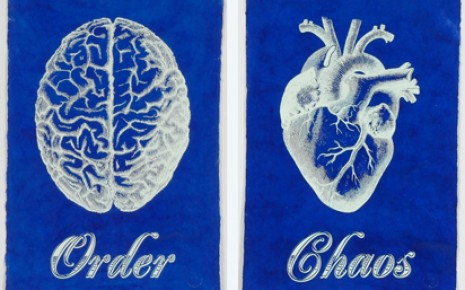 Blue Order Chaos Prints Lacquered Paper